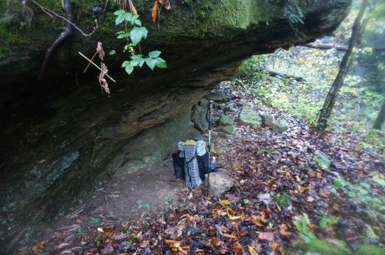 A natural shelter will do as well along the Sheltowee Trace in Kentucky.