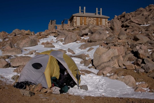 I used to carry a REI Half Dome. WAY too heavy. Here at 14000ft at Mt Evans for Thanks Giving